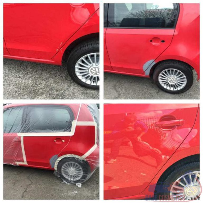 VW up with damage to the door and quarter panel.